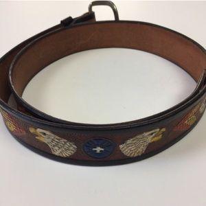 Vintage Painted Eagle Leather Belt